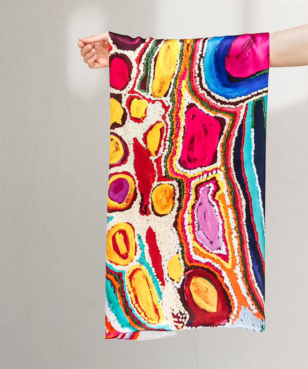 Parnngurr Area silk scarf by Jakayu Biljabu